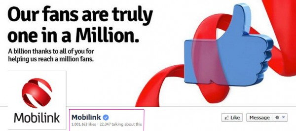 Mobilink 1 million Likes page