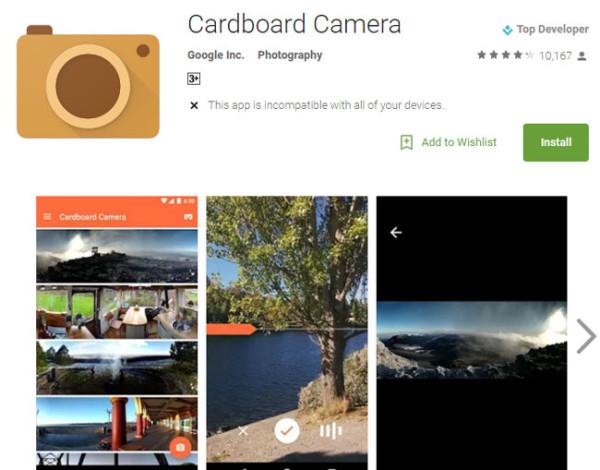 Cardboard camera phone app