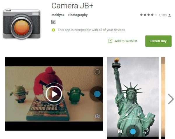 The Camera JB+ mobile app